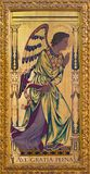London - The archangel Gabriel as the left part of Annunciation painting on the wood  on the altar in church St Clement`s. LONDON, GREAT BRITAIN - SEPTEMBER 14 Stock Photography