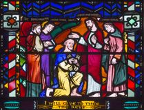 LONDON, GREAT BRITAIN - SEPTEMBER 16, 2017: The Christ Handing the Keys to St Peter on the stained glass in church St Etheldreda Stock Photography