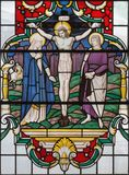 LONDON, GREAT BRITAIN - SEPTEMBER 14, 2017: The Crucifixion of Jesus Christ on the stained glass in church St. Lawrence Jewry Stock Photography
