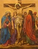 LONDON, GREAT BRITAIN - SEPTEMBER 17, 2017: The Crucifixion painting as the Station of the Cross in church of St. James. Spanish Place by M. Jacob 1873 Stock Photo