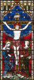LONDON, GREAT BRITAIN - SEPTEMBER 19, 2017: The Crucifixion on the Stained glass in St Mary Abbot`s church Royalty Free Stock Images