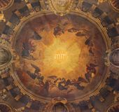 LONDON, GREAT BRITAIN - SEPTEMBER 14, 2017: The fresco in the cupola wiht name of God and choirs of angels in church St Clement. LONDON, GREAT BRITAIN royalty free stock photos
