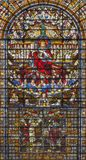 LONDON, GREAT BRITAIN - SEPTEMBER 14, 2017: The Jesus Christ the King on the stained glass in the church St. Edmund the King Royalty Free Stock Photography