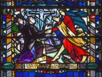 LONDON, GREAT BRITAIN - SEPTEMBER 16, 2017: The messianic prophecy of Daniel on the stained glass in church St Etheldreda. By Charles Blakeman 1953 - 1953 Royalty Free Stock Images