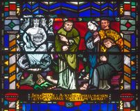 LONDON, GREAT BRITAIN - SEPTEMBER 16, 2017: The messianic prophecy of Jeremiah on the stained glass in church St Etheldreda. By Charles Blakeman 1953 - 1953 Royalty Free Stock Photos