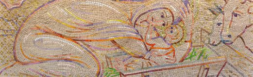 LONDON, GREAT BRITAIN - SEPTEMBER 18, 2017: The modern mosaic of Nativity in church Notre Dame de la France by Boris Anrep. Stock Photo
