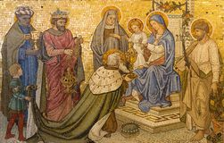 LONDON, GREAT BRITAIN - SEPTEMBER 17, 2017: The mosaic of Adoration of the Magi in church Our Lady of the Assumption Stock Photo