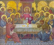 LONDON, GREAT BRITAIN - SEPTEMBER 17, 2017: The mosaic of The Last Supper in church St. Barnabas Stock Photos