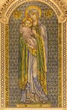 LONDON, GREAT BRITAIN - SEPTEMBER 17, 2017: The mosaic of Madonna in Westminster cathedral Stock Images