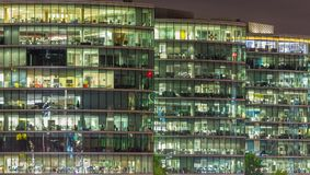 LONDON, GREAT BRITAIN - SEPTEMBER 17, 2017: The offices on the riverside at night Royalty Free Stock Photo