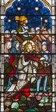 LONDON, GREAT BRITAIN - SEPTEMBER 19, 2017: The Jesus under the cross on the Stained glass in St Mary Abbot& x27;s church on Stock Photos