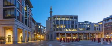 LONDON, GREAT BRITAIN - SEPTEMBER 14, 2017: The panorama of Pater Noster square at dusk Stock Image