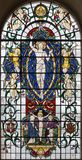 LONDON, GREAT BRITAIN - SEPTEMBER 14, 2017: The resurrected Jesus Christ on the stained glass in church St. Lawrence Jewry Royalty Free Stock Photos