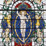 LONDON, GREAT BRITAIN - SEPTEMBER 14, 2017: The resurrected Jesus Christ on the stained glass in church St. Lawrence Jewry Stock Images