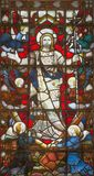 LONDON, GREAT BRITAIN - SEPTEMBER 20, 2017: The Resurrection on the stained glass in church St. Pancras from 19. cent Stock Photos