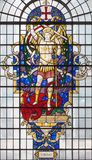 LONDON, GREAT BRITAIN - SEPTEMBER 14, 2017: St. Michael the archangel on the stained glass in church St. Lawrence Jewry stock image