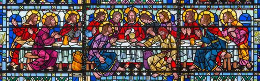 LONDON, GREAT BRITAIN - SEPTEMBER 16, 2017: The stained glass of Last Supper the Pantokrator in church St Etheldreda Royalty Free Stock Image