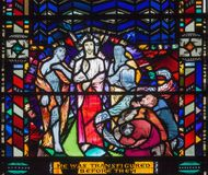 LONDON, GREAT BRITAIN - SEPTEMBER 16, 2017: The stained glass of Transfiguration  in church St Etheldreda Royalty Free Stock Images