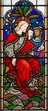LONDON, GREAT BRITAIN - SEPTEMBER 14, 2017: The teaching of Jesus on the stained glass in the church St. Michael Cornhill Royalty Free Stock Photography