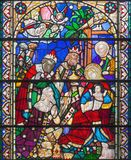 LONDON, GREAT BRITAIN - SEPTEMBER 15, 2017: The Three Magi on the satined glass of St James`s Church, Clerkenwell.  royalty free stock image