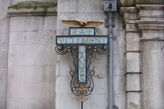 London, Greater London, 7th February 2019, detail of entrance to RAF St Clement Danes. Church royalty free stock photo