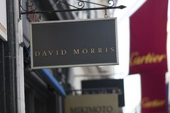 London, Greater London, United Kingdom, 7th February 2018, A sign and logo for Bond Street David Morris stock images
