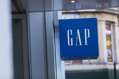 London, Greater London, United Kingdom, 7th February 2018, A sign and logo for GAP stock images
