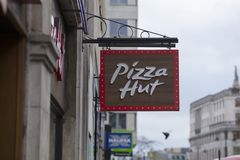 London, Greater London, United Kingdom, 7th February 2018, A sign and logo for Pizza Hut royalty free stock image