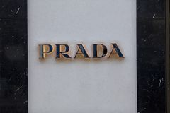 London, Greater London, United Kingdom, 7th February 2018, A sign and logo for Prada royalty free stock image