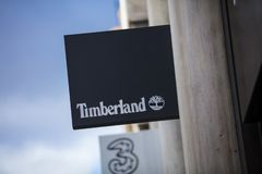London, Greater London, United Kingdom, 7th February 2018, A sign and logo for Timberland royalty free stock image