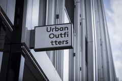 London, Greater London, United Kingdom, 7th February 2018, A sign and logo for Urban Outfitters. Store stock photography