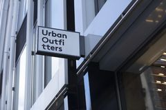 London, Greater London, United Kingdom, 7th February 2018, A sign and logo for Urban Outfitters. Store stock image