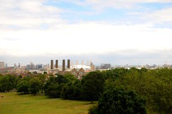 London - Greenwich. The Millennium Dome at Greenwich, with Greenwich power station and the gasworks beside the River Thames Stock Photography