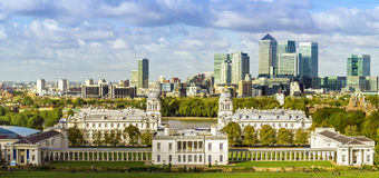 London, Greenwich Park and Canary Wharf Royalty Free Stock Photo
