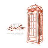 London Greeting Card. Template. Traditional Telephone Booth Royalty Free Stock Image