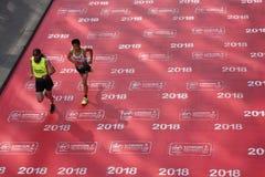 London, Großbritannien April 2018: Blinder Läufer im London-Marathon Lizenzfreie Stockfotos