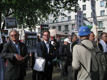 """London Großbritannien - 5. Juni 2018: Leute an freiem Palästina-†""""stoppen stockbild"""