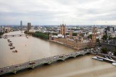 London, Großbritannien Panoramablick von London von London-Auge Lizenzfreie Stockfotos
