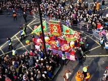LONDON, GROSSBRITANNIEN - 14. FEBRUAR 2016: Lastwagen des Chinesischen Neujahrsfests auf Chinesisch Stockfotos