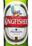 LONDON, GROSSBRITANNIEN - 23. MÄRZ 2017: Flaschenaufkleber des Eisvogelbieres auf Weiß Eisvogel ist das Nummer Eins-Bier von Indi Lizenzfreie Stockfotos