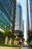 LONDON, GROSSBRITANNIEN - 14. MAI 2014: Moderne Architektur der Bürogebäude von Canary Wharf-Arie die führende Mitte der globalen Lizenzfreie Stockfotos
