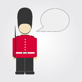 London guard. With comic ballon. Isolated. Copy space Stock Photo