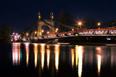 London. Hammersmith Bridge West London Capital of United Kingdom Thames River by night Stock Photo