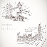 London-hand drawn landscape in vintage style Royalty Free Stock Image
