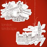 London-hand drawn landscape in vintage style Royalty Free Stock Photos