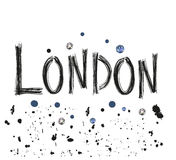London hand drawn letter with sparkling dots poster design vector illustration Stock Photography