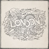 London hand lettering and doodles elements Stock Photography