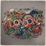London hand lettering and doodles elements Stock Images