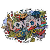 London hand lettering and doodles elements Stock Image