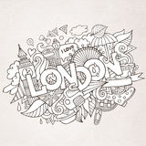 London hand lettering and doodles elements Stock Photo
